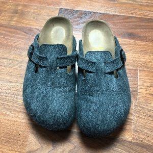 Birkenstock Gray Wool Felt Slip Buckle On Clogs 36